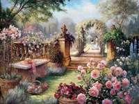 garden, bench with hat