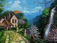 casa in montagna, cascata