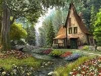 capanna nella foresta vicino a
