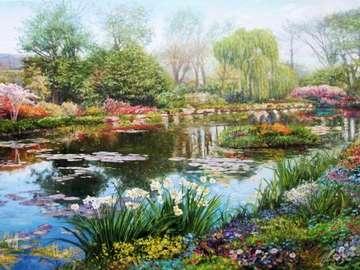 obrazek  malowany - krajobraz z wodą i kwiatami