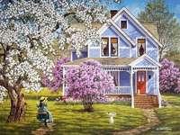 trädgård, flicka på en gunga