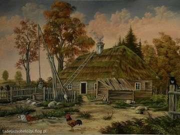 na wiejskim podwórku - krajobraz  wiejskie podwórko