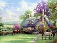 Cottage, horses, lawn - domek,konie,trawnik,ogród