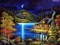 cottage, mountain, night, lake
