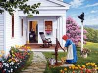casa, donna presso l'acquedott