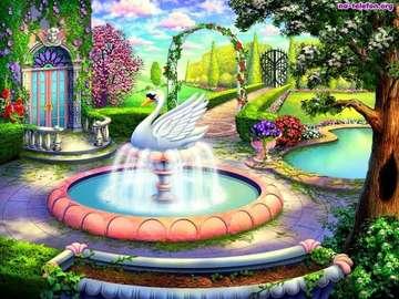 maison, jardin, fontaine, cygn - dom, ogród, fontanna, łabędź