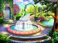 Dům, zahrada, kašna, zpěvná