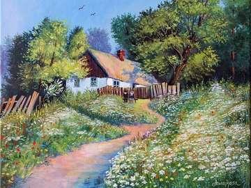 ζωγραφισμένο τοπίο - ηλικιωμένο ζευγάρι στον πάγκο