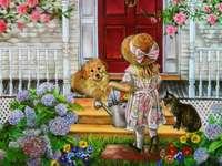 girl, dog, cat, house