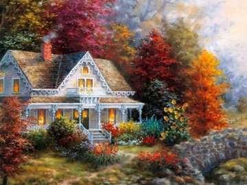 maison décorative, arbres d'au - ozdobny domek, jesienne drzewa