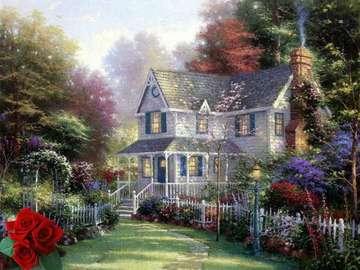 maison bleue au milieu de la f - błękitny dom wśród lasu