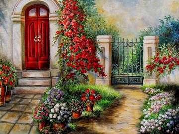 drzwi,pnącza kwiatów,furtka - drzwi,pnącza kwiatów,furtka