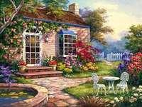 къща, пролетта градина порта