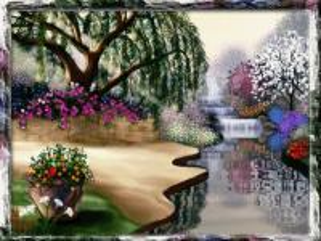 ανοιξιάτικος κήπος, καταρράκτης, δέντρα - ανοιξιάτικος κήπος, καταρράκτης, δέντρα