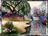 ogród wiosną, wodospad,drzewa - ogród wiosną, wodospad,drzewa