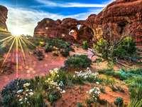 mountains, canyon, sun