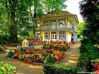 guest house, garden, fountain - pensjonat,ogród,fontanna