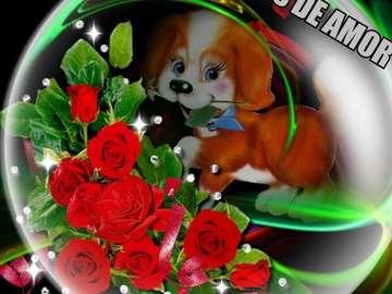 little dog with a bouquet of f - piękne kwiaty w pysku pieska