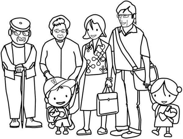 kolorowanka z rodzinĄ - Moja rodzina. Kolorowanka. Puzzle z obrazka (5×5)
