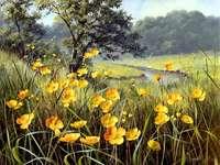 ζωγραφισμένη εικόνα - καλοκαιρινά λουλούδια στο λιβάδι