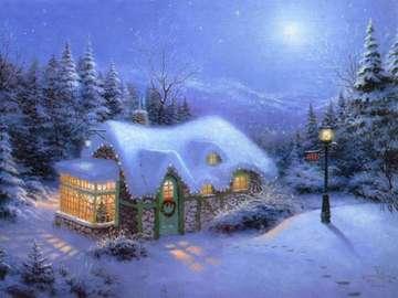 Winter und Weihnachten - Chatka w lesie, zima, święta