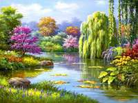 Színes táj - A világ legjobb kertje. Widoczek. Idilli kép, számítógépes grafika. A képen gyönyörű, szí