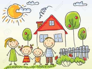 rompecabezas familiar - Dopasuj puzzle do siebie tak, aby stworzyły obrazek rodziny.
