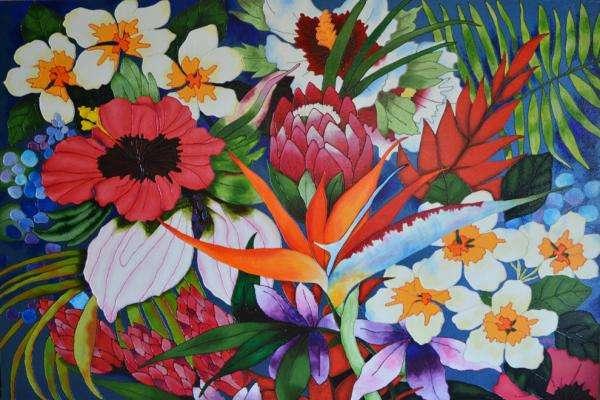 Różne kwiaty - Bukiet kolorowe kwiaty (10×10)