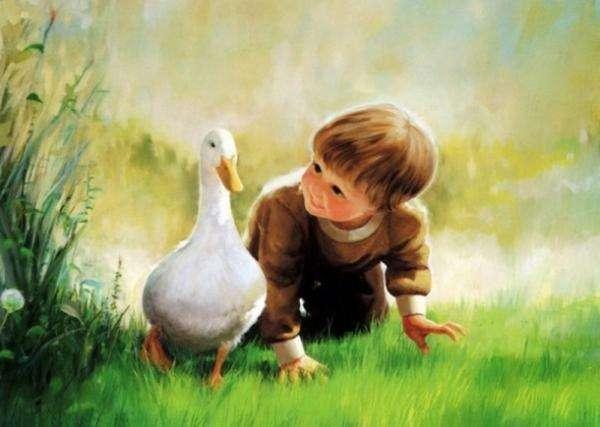 μωρό και πάπια - φιλία, ωραίο πράγμα, ας βάλουμε μαζί το γαμπρό και το παιδί θα το κανονίσουμε επίσης (8×5)