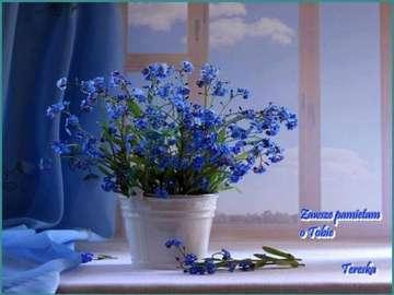 with best wishes - z życzeniami niebieskie kwiaty