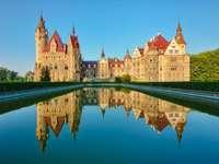 Moszna kastély - víz, kastély, tégla, fa