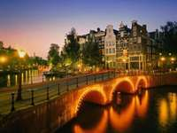 bro på natten - bro, sten, Svitlana, flod, hus