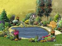 vijver - vijver, water, bankje, bloemen