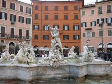 włoska fontanna - fontanna,woda,figury,domy