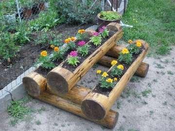 ensemble décoratif - trzy doniczki drewniane