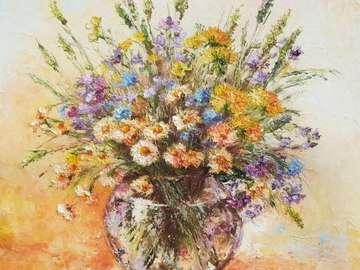 Fruehlingsstrauss - kolorowy obraz z kwiatów