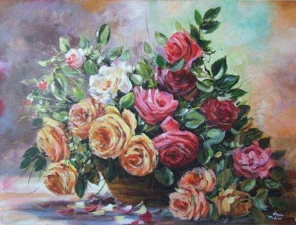 olieverfschilderij - vaas met bloemen, foto (6×3)