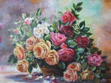 peinture à l'huile - wazon z kwiatami, obraz