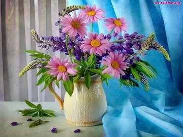bouquet of flowers - różowych stokrotek bukiet