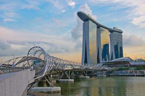 Singaporese originele builds - brug, wolkenkrabbers, rivier, dak (10×10)