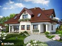 όμορφο σπίτι - σπίτι, δέντρα, γκαζόν, λουλούδια