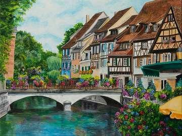 obrazek  malowany - miasteczko kolorowe domy