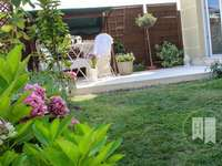 taras w małym ogrodzie - taras,ogród,kwiaty,trawnik