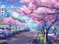 Sakura Street - Sakura Street Wallpaper. Colorful street.