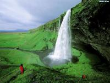 cascata - islandzki wodospad Seljalandsfoss.
