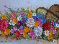 cesta - e as flores derramadas