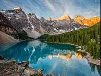 Mountain landscape - góry,rzeka,las,chmury,śnieg