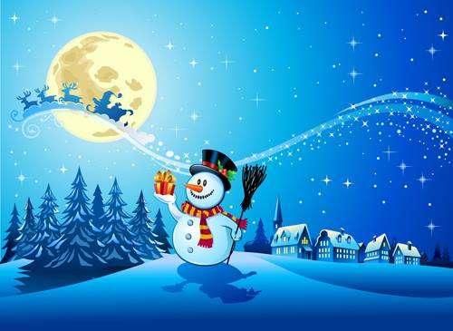 децата направиха снежен човек - вали сняг, снежният човек стои и се усмихва (10×10)
