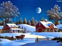 зимен изглед - шейна, коне, сняг, зима, къща