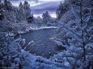hiver magique - jeziorko, drzewa, las, śnieg